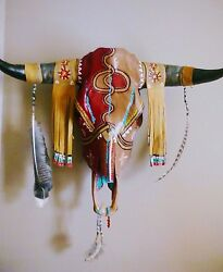 New Hand Painted Bull Skull W/horns Leather Turquoise Decor Steer Cow.