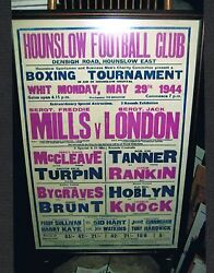 Extremely Rare 1944 Freddie Mills Jack London Turpin Rankin Brunt Boxing Poster