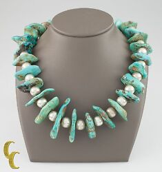 Sterling .natural Turquoise And Beaded Navajo Native American Necklace