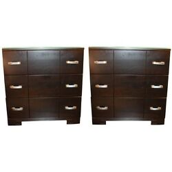 Mid Century - Circa 1940's Pair Of Bedside Chests With Original Hardware