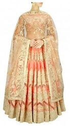 Divaand039ni Peach With Gold Resham Embroidered Lehenga Set - Excellent Condition