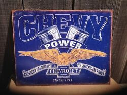 Vintage Chevy Power Since 1911 Tin Metal Sign Garage Shop Classic Wings Pistons