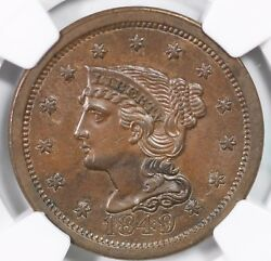 1849 N-7 Ngc Ms 62 Bn Braided Hair Large Cent Coin 1c