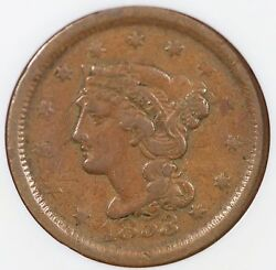1853 N-19 Ngc Xf 40 Dbl Struck Rot. In Collar Braided Hair Large Cent Coin 1c