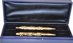 Vintage 14k Yellow Gold Bamboo Pen And Pencil Set In Original Box