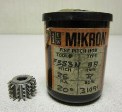 Itw Mikron Fine Pitch Gear Hob F553n Pitch 25 P.a. 20 Degree Bore .3149