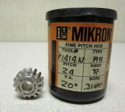 Itw Mikron Fine Pitch Gear Hob F1414n Pitch 24 P.a. 20 Degree Bore .3149