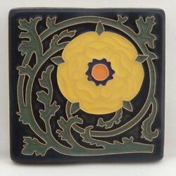 4x4 Arts And Crafts Tudor Rose Tile In Bright Yellow Arts And Craftsman Tileworks