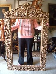Hand Carved Wood Heavy Wide Ornate Floral Baroque Picture Mirror Frame 63 X 37