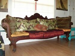 Antique Indian Bench Teack Wood With Fine Pillows
