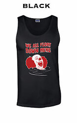 244 We All Float Tank Top Funny King Cool Pennywise Scary Clown Movie Classic