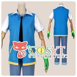 Pokemon Ash Ketchum Cosplay Costume With Hat And Gloves Full Set All Size Cosyt