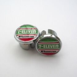 Vintage Style 80s 90s 7-eleven Team Chrome Racing Bar Plugs Caps Repro