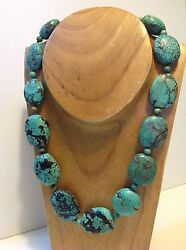 Antique Chinese Raw Natural Turquoise Beads Necklace Original Tribal M1494