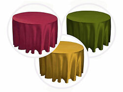 18 Packs 120 Inch Round Satin Tablecloth Wedding 25 Color 5' Ft Table Usa Sale