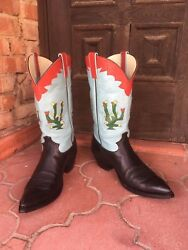 Rancho Loco Vintage Cactus Hand Made Cowboy Boots Menand039s Size 9d