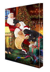 Happy Holidays Santa Sleeping Black Russian Terrier Dogs Christmas Canvas Art