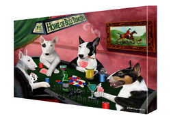 Home of Bull Terrier Dogs Playing Poker Canvas Wall Art