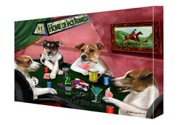 Home of Jack Russell Dogs Playing Poker Canvas Wall Art