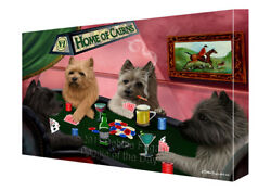 Home of Cairn Terrier Dogs Playing Poker Canvas Wall Art