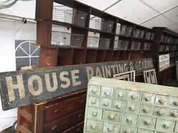 C1900-10 House Painting And Glazing Wooden Antique Sign 16' X 15 X 1 Black-white