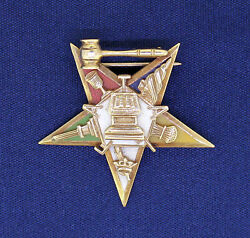 Vintage Masonic 1920's Eastern Star Pin / Brooch Real Solid 14 K Gold 7.6 G