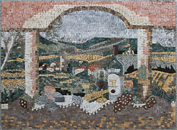 Bright Morning Breakfast 43x32 Arches Natural Stone Marble Mosaic Ls158