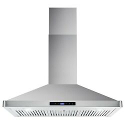 36 Ducted Wall Mount Range Hood W/ Permanent Filters In Stainless Steel 380 Cfm