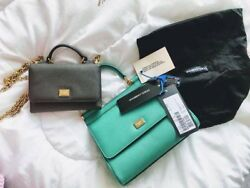 NWT Authentic Miss Sicily Dauphine Leather Handbag Bag Green 04534 $799.00