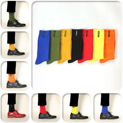 7pair Mens Casual Business Middle High Socks Embroidery Dress Stockings One Size