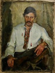 Russian Ukrainian Soviet Oil Painting Male Portrait Impressionism Realism Man