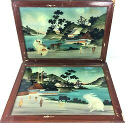 Couple Of Oils On Glass. Nacar Application And Photographs. Japan.end Xixth