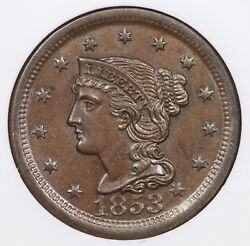 1853 N-28 R-3+ Ngc Ms 64 Bn Braided Hair Large Cent Coin 1c Ex Reiver