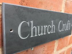Engraved Quality Slate House Sign Any Name / Number 12 X 4 Fast Delivery