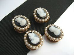 4 Antique Victorian Art Deco 14k Gold Cameo Seed Pearl Shirt Cuff Stud Buttons