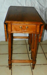 Pecan Dropleaf Gateleg End Table / Side Table By Thomasville T882