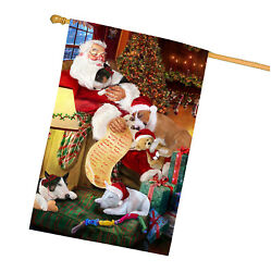 Bull Terrier Dog and Puppies Sleeping with Santa House Flag