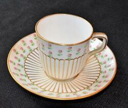 Atq 1899 Minton England Globe W Crown Pink Roses G6662 Demitasse Cup And Saucer