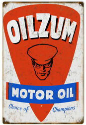 Oilzum Garage Shop Reproduction Motor Oil Man Cave Metal Sign 18 X 30 In Rvg222