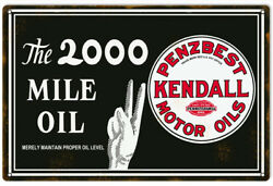 Motor Oil Kendall Reproduction Garage Shop Metal Sign - 18 In X 30 Rvg155