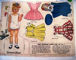 Vintage Advertising Girl Paper Doll For Sunbeam Bread W/ Simplicity Patterns