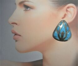 Big Native American Indian Turquoise Inlay Inlaid Cabochon Earrings 925 Sterling