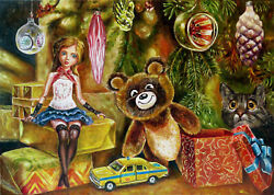 Vintage Retro Christmas Tree Toy Gift New Year Doll Car Cat Soviet Art Painting