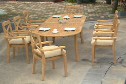 Granada Grade-a Teak Wood 7pc Dining 94 Oval Table 6 Stacking Arm Chair Set