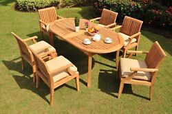 Lagos Grade-a Teak 7 Pc Dining 94 Oval Table 6 Arm Chairs Set Outdoor Patio New