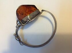 Antique Silver Bracelet Europe Jewelry Amber Arts And Crafts Nouveau M1402
