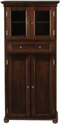 4 Door Tall Storage Cabinet Wood Chest Organizer Shelves Bathroom Towels Brown