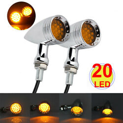 Motorcycle Chrome Red Amber LED Bullet Stop Brake Turn Signal Light Indicator US