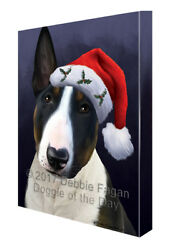 Christmas Bull Terrier Dog Holiday Portrait with Santa Hat Canvas Wall Art
