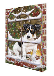 Please Come Home For Christmas Jack Russell Dog Sitting Window Canvas Wall Art